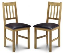 Pair of Catalina American White Oak & Faux Leather Dining Chairs